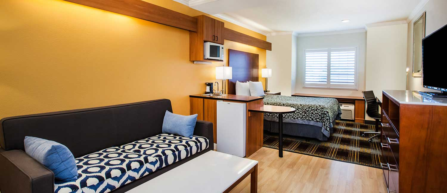 SUITES WITH MODERN DECOR ARE PERFECT FOR EXTENDED STAY